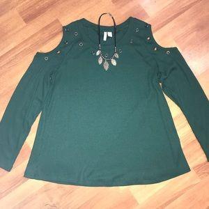 Green Cold Shoulder Sweater